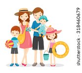 happy family with summer trip ... | Shutterstock .eps vector #318460679