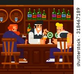 men rest and drink at the pub.... | Shutterstock .eps vector #318467189