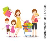 family shopping and gift box in ... | Shutterstock .eps vector #318470231
