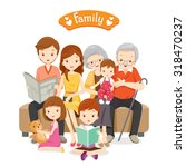 happy family sitting on sofa... | Shutterstock .eps vector #318470237