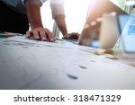 double exposure of businessman... | Shutterstock . vector #318471329