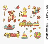 colorful set of doodle toys  | Shutterstock .eps vector #318472439