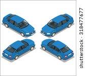 blue car. flat 3d transport.... | Shutterstock .eps vector #318477677