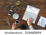 writer working on computer at... | Shutterstock . vector #318480899