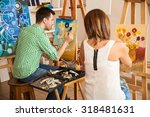 rear view of a couple of young...   Shutterstock . vector #318481631