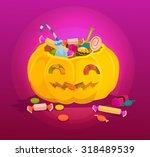 pumpkin full of sweets. vector... | Shutterstock .eps vector #318489539
