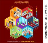 flat 3d isometric shopping mall ... | Shutterstock .eps vector #318495341