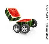 Sliced Cube Watermelon On...