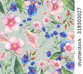 beautiful floral seamless... | Shutterstock . vector #318503027