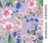 beautiful floral seamless... | Shutterstock . vector #318503051