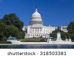 Stock photo washington dc us capitol building in august during clear day usa 318503381