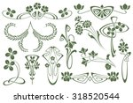 Vector set flower vignette  on different versions for decoration and design