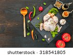 raw chicken with spices ... | Shutterstock . vector #318541805