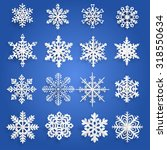 set of white snowflakes cut out ... | Shutterstock .eps vector #318550634