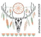 ethnic deer skull with big... | Shutterstock .eps vector #318552509
