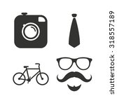 hipster photo camera. mustache... | Shutterstock .eps vector #318557189