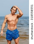 handsome and muscular man on... | Shutterstock . vector #318558551