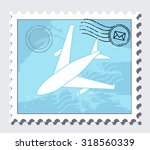 airmail stamp  vector | Shutterstock .eps vector #318560339