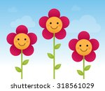 Happy Smiling Flowers Vector...