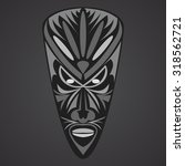 gray african mask on a black... | Shutterstock .eps vector #318562721