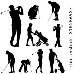 golfer silhouettes collection | Shutterstock .eps vector #318586937