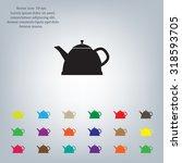 teapot kettle on isolated ... | Shutterstock .eps vector #318593705