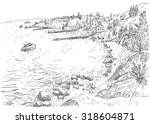 sea coast with piers and rocky... | Shutterstock .eps vector #318604871