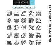 thin line icons set. flat... | Shutterstock .eps vector #318605951
