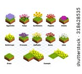 Set Of Isometric Tiles Flowers...