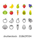 fruit and vegetable icon set.... | Shutterstock .eps vector #318629534