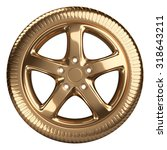 Modern Golden Car Wheel Front...