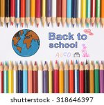 colour pencils on white... | Shutterstock . vector #318646397