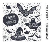 set of halloween pumpkin  witch ... | Shutterstock .eps vector #318651167