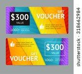 gift voucher blank with bright...   Shutterstock .eps vector #318662984