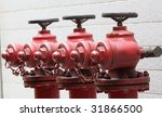 A Row Of Fire Hydrants