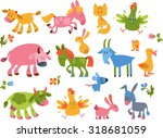 collection of farm animals and... | Shutterstock .eps vector #318681059