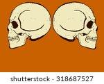 halloween postcard. two white... | Shutterstock .eps vector #318687527
