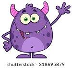 funny cute monster cartoon... | Shutterstock . vector #318695879