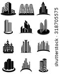 buildings real estate icons set | Shutterstock .eps vector #318705575
