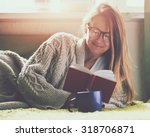 Pretty Girl Reading Book With...