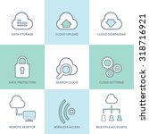 cloud computing line icons set. ... | Shutterstock .eps vector #318716921