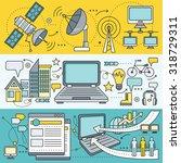 satellite internet global... | Shutterstock .eps vector #318729311