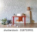 Red Desk In Office Architectur...