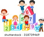 happy  kids with numbers blocks | Shutterstock . vector #318739469
