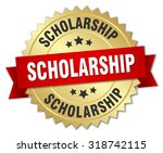 scholarship 3d gold badge with...   Shutterstock .eps vector #318742115