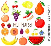 vector fruit flat icon set | Shutterstock .eps vector #318743444