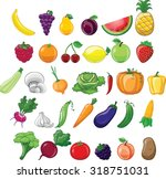 cartoon vegetables and fruits  | Shutterstock .eps vector #318751031