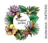 tropical frame design with hand ... | Shutterstock .eps vector #318751541