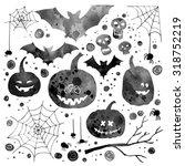set halloween watercolor. funny ... | Shutterstock . vector #318752219