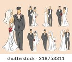 silhouette of bride and groom ... | Shutterstock .eps vector #318753311